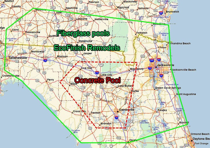 Florida Area Map.My Favorite Pool Builder Service Area Map For All Services In